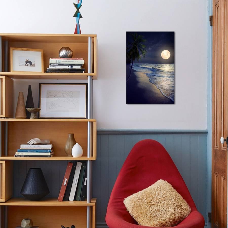 Beautiful Fantasy Tropical Beach with Milky Way Star in Night Skies, Full  Moon - Retro Style Artwor Photographic Print by jakkapan | Art com