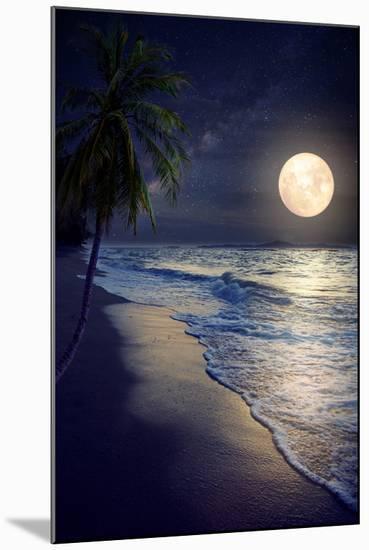 Beautiful Fantasy Tropical Beach with Milky Way Star in Night Skies, Full Moon - Retro Style Artwor-jakkapan-Mounted Photographic Print