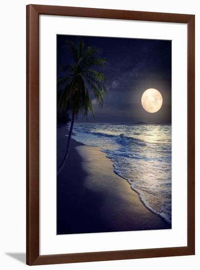 Beautiful Fantasy Tropical Beach with Milky Way Star in Night Skies, Full Moon - Retro Style Artwor-jakkapan-Framed Premium Photographic Print