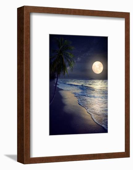 Beautiful Fantasy Tropical Beach with Milky Way Star in Night Skies, Full Moon - Retro Style Artwor-jakkapan-Framed Photographic Print