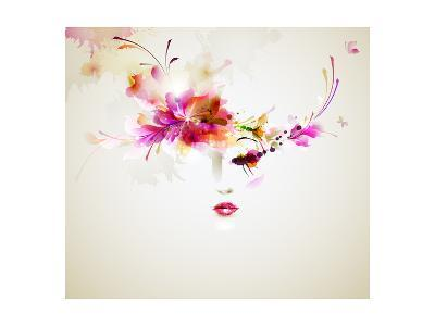 Beautiful Fashion Women With Abstract Design Elements-artant-Art Print