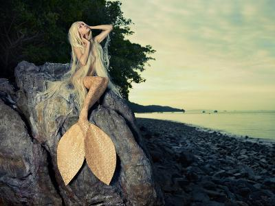 Beautiful Fashionable Mermaid Sitting On A Rock By The Sea-George Mayer-Art Print