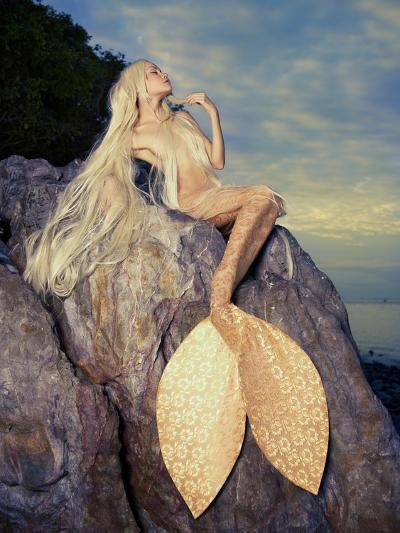 Beautiful Fashionable Mermaid Sitting On A Rock By The Sea-George Mayer-Art Print
