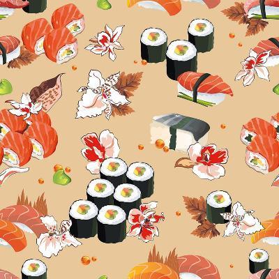 Beautiful Flower Japan Seamless Pattern, Vector Illustration Sushi Texture-Alexey Vl B-Art Print