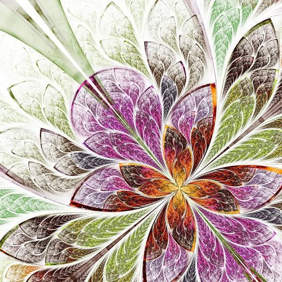 Beautiful Fractal Flower in Beige, Green and Violet-velirina-Art Print