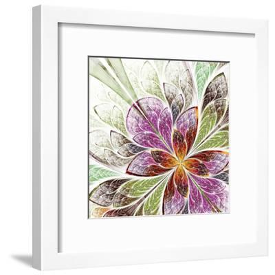 Beautiful Fractal Flower in Beige, Green and Violet-velirina-Framed Art Print