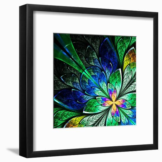 Beautiful Fractal Flower in Yellow, Green and Blue-velirina-Framed Premium Giclee Print
