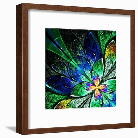 Beautiful Fractal Flower in Yellow, Green and Blue-velirina-Framed Premium Giclee Print