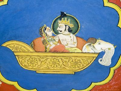 Beautiful Frescoes on Walls of the Juna Mahal Fort, Dungarpur, Rajasthan State, India-R H Productions-Photographic Print