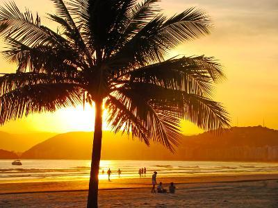 Beautiful Golden Sunset On The Beach Of The City Of Santos In Brazil-fabio fersa-Photographic Print