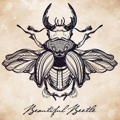 Beautiful Hand Drawn Antique Stag Beetle,The Largest Insect. Vintage Style Tattoo Vector Art. Engra-Katja Gerasimova-Art Print