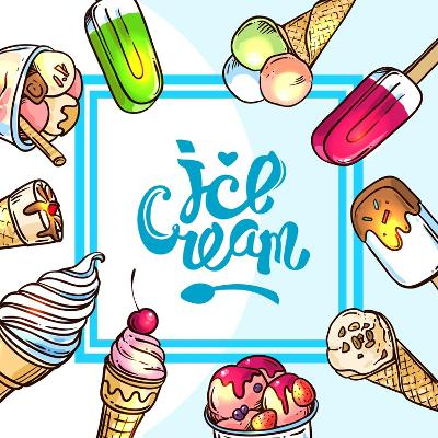 Beautiful Hand Drawn Vector Illustration Ice Cream. Different Ice Cream for Your Design.-Margarita Tkachenko-Art Print