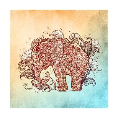 Beautiful Hand-Painted Elephant with Floral Ornament-Vensk-Art Print
