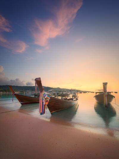 Beautiful Image of Sunrise with Colorful Sky and Longtail Boat on the Sea Tropical Beach. Thailand-Hanna Slavinska-Photographic Print