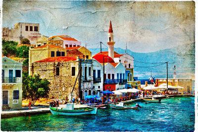 Beautiful Kastelorizo Bay (Greece, Dodecanes) - Artwork In Painting Style-Maugli-l-Art Print