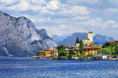 Beautiful Lago Di Garda, North of Italy. View with Castle in Malcesine-Maugli-l-Photographic Print