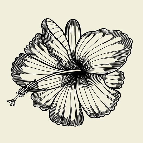 Beautiful Lily Painted in a Graphic Style Points and Lines. A Great Figure for a Tattoo- frescomovie-Art Print