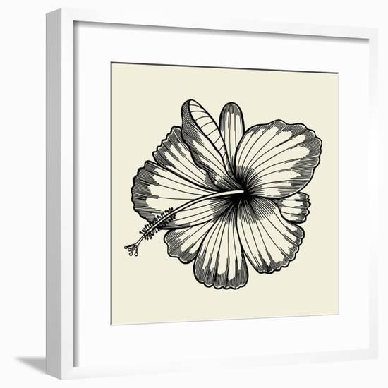 Beautiful Lily Painted in a Graphic Style Points and Lines. A Great Figure for a Tattoo- frescomovie-Framed Premium Giclee Print