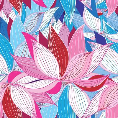 Beautiful Lotus Flower Pattern-Tatiana Korchemkina-Art Print