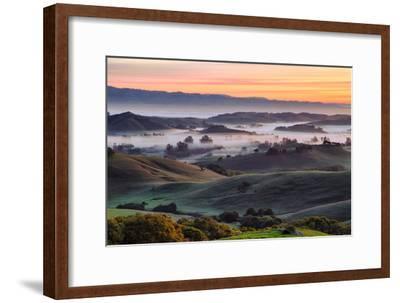 Beautiful Morning Hills and Fog Petaluma Sonoma California-Vincent James-Framed Photographic Print