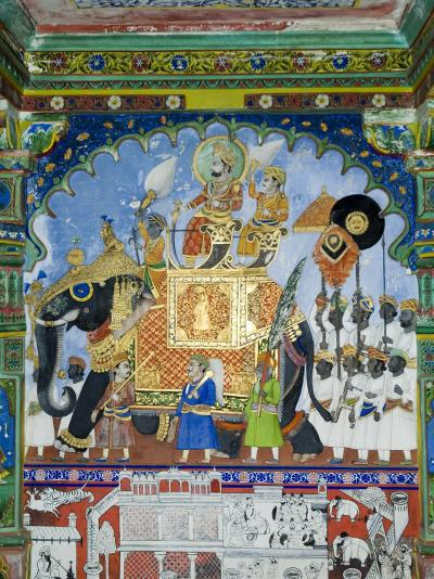 Beautiful Mughal Frescos on Walls of the Juna Mahal Fort, Dungarpur, Rajasthan, India-Robert Harding-Photographic Print
