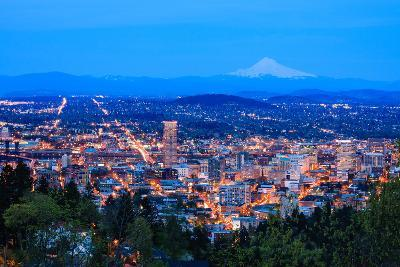 Beautiful Night Vista of Portland, Oregon-diro-Photographic Print