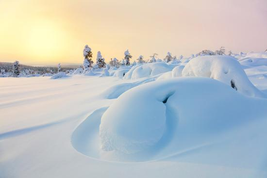 Beautiful Northern Winter Landscape - Sunset, Snow Covered Pine Trees and Big Snowbanks-Taiga-Photographic Print