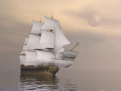 Beautiful Old Merchant Ship Sailing on Quiet Waters--Art Print
