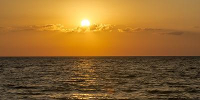 Beautiful Orange Sunset over the Gulf of Mexico from Anna Maria Island, Florida-Sheila Haddad-Photographic Print