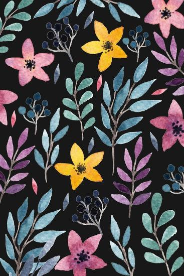 Beautiful Postcard with Hand Drawn Floral Elements. Bright Colors, Simple Shapes. Hand Drawn Waterc-Maria Sem-Art Print