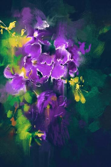 Beautiful Purple Flowers In Dark Background With Oil Painting Style Art Print By Hi Luad