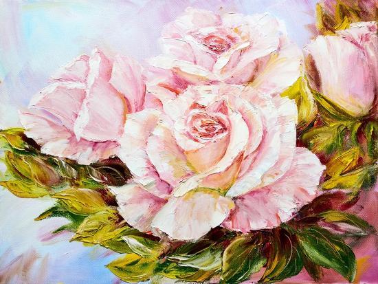 Beautiful Roses, Oil Painting on Canvas-Valenty-Art Print