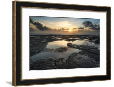 Beautiful Seascape at Sunset with Dramatic Clouds Landscape Image-Veneratio-Framed Photographic Print