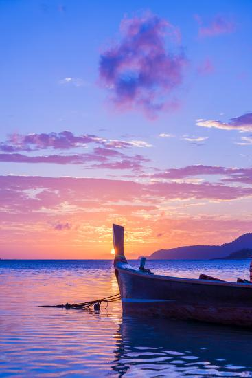 Beautiful Sunrise in Rawai Phuket Island Thailand with Long Tailed Boat Ruea Hang Yao-Remy Musser-Photographic Print