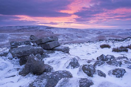 Beautiful Sunrise over a Frozen and Snow Covered Belstone Tor, Dartmoor National Park, Devon-Adam Burton-Photographic Print