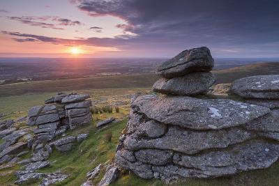 Beautiful Sunset over Arms Tor, Dartmoor, Devon, England. Summer (August)-Adam Burton-Photographic Print