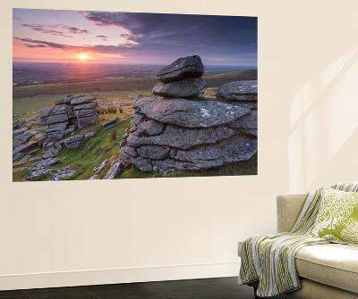 Beautiful Sunset over Arms Tor, Dartmoor, Devon, England. Summer (August)-Adam Burton-Wall Mural