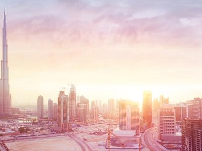 Beautiful Sunset over Dubai City, Amazing Cityscape Lit with Warm Sun Light, Contemporary New Moder-Anna Om-Photographic Print