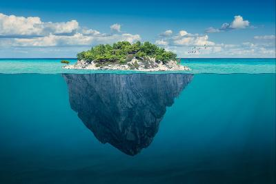 Beautiful Underwater View of Lone Small Island above and below the Water Surface in Turquoise Water-rasica-Photographic Print