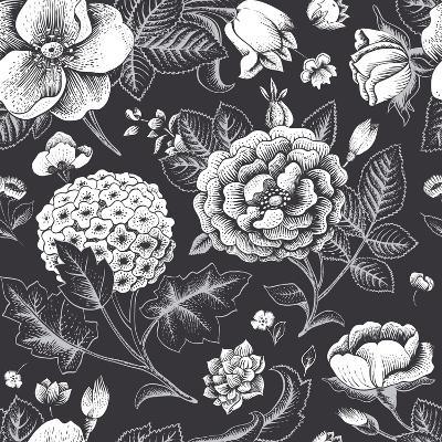 Beautiful Vintage Floral Seamless Pattern. Garden Roses, Hydrangea and Dog-Rose Flower on a Black B-Olga Korneeva-Art Print