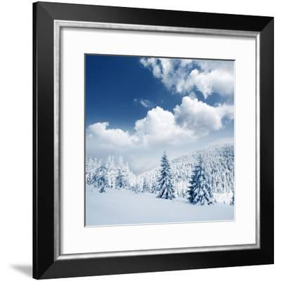 Beautiful Winter Landscape with Snow Covered Trees-Leonid Tit-Framed Photographic Print