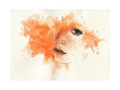 Beautiful Woman Face. Watercolor Illustration-Anna Ismagilova-Art Print