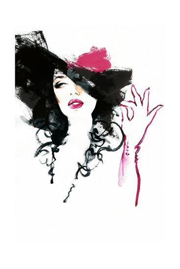 Beautiful Woman in Hat . Watercolor Illustration-Anna Ismagilova-Art Print