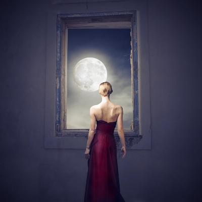 Beautiful Woman Observing the Moon from a Window-olly2-Art Print