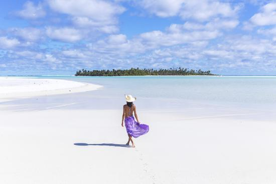 Beautiful Woman On Tropical Beach Honeymoon Island Aitutaki Cook Islands Mr Photographic Print By Matteo Colombo Art