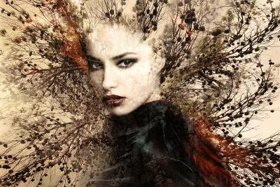 Beautiful Woman Portrait Double Exposure with Tree-coka-Photographic Print