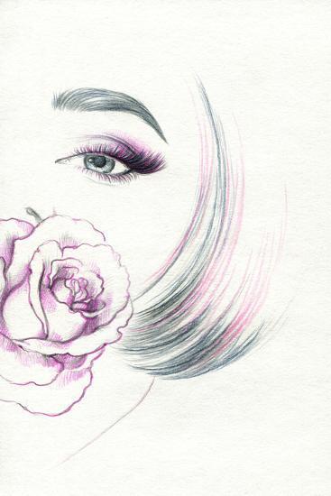 Beautiful Woman Portrait with Rose-Anna Ismagilova-Art Print
