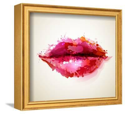 Beautiful Woman's Lips Formed By Abstract Blots-artant-Framed Art Print