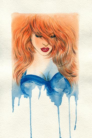 Beautiful Woman. Watercolor Illustration-Anna Ismagilova-Art Print