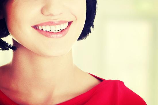 Beautiful Woman with Her Perfect Straight White Teeth.-B-D-S-Photographic Print